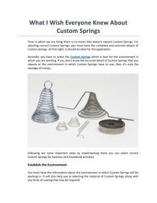 What I Wish Everyone Knew About Custom Springs