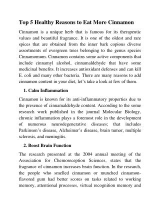 Top 5 Healthy Reasons to Eat More Ceylon Cinnamon