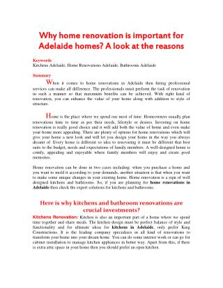 Why home renovation is important for Adelaide homes? A look at the reasons