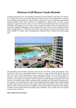Verify The Details Related To Gulf Shores Condo Rentals