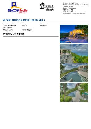 MANGO MANOR LUXURY VILLA for sale by Beacon Realty BVI Ltd.