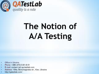 The Notion of A/A Testing