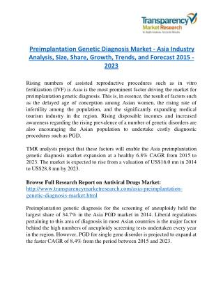 Preimplantation Genetic Diagnosis Market - Asia Industry Analysis, Size, Share, Growth, Trends, and Forecast 2015 - 2023