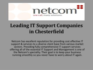 Leading IT Support Companies in Chesterfield