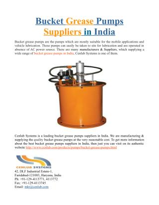Bucket Grease Pumps Suppliers in India