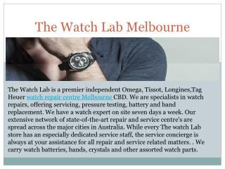 The Watch Lab Watch Repair Services Melbourne CBD