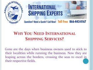 Why You Need International Shipping Services?