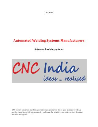 Automated welding systems manufacturers