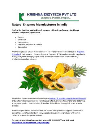 Natural Enzymes Manufacturers in India