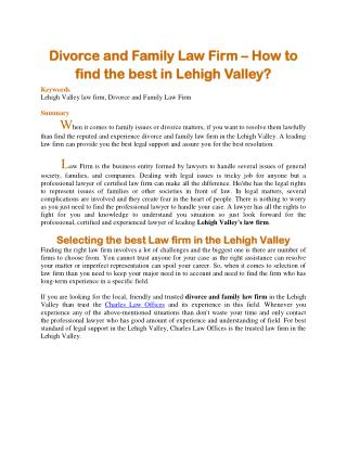 Divorce and Family Law Firm – How to find the best in Lehigh Valley?