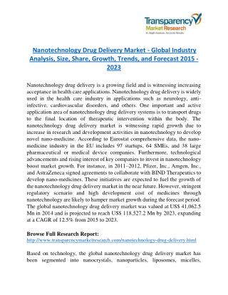 Nanotechnology Drug Delivery Market to reach US$ 11.9 Billion in 2023