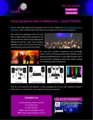 Party Equipment Hire in Melbourne – CLUB STATION