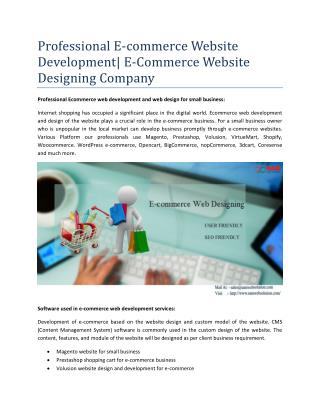 Professional E-commerce Website Development| E-Commerce Website Designing Company