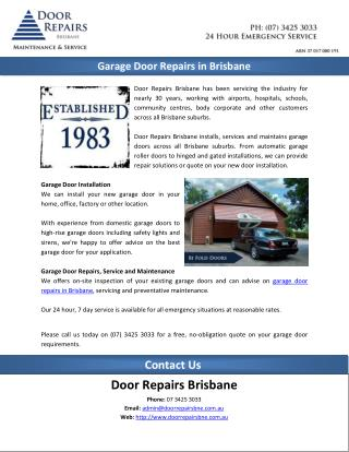 Garage Door Repairs in Brisbane