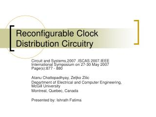 Reconfigurable Clock Distribution Circuitry