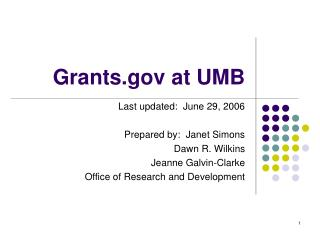 Grants.gov at UMB