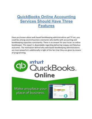 QuickBooks Online Accounting Services Should Have Three Features