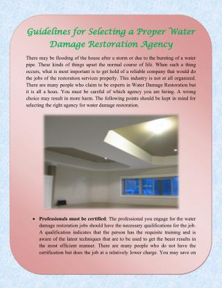 Guidelines for Selecting a Proper Water Damage Restoration Agency