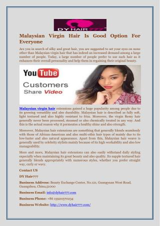 Malaysian Virgin Hair Is Good Option For Everyone