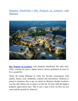 Buy Property in Lucknow with Shalimar