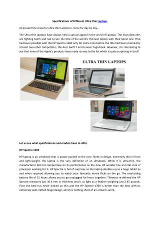 Specifications about Ultra-thin Laptops