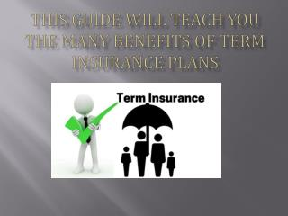 This guide will teach you the many benefits of Term Insurance Plans