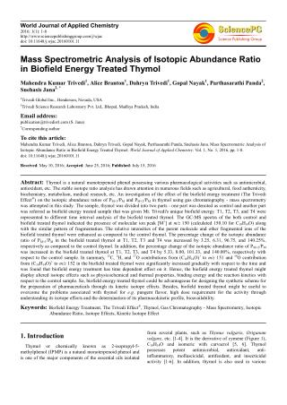 Mass Spectrometric Analysis of Isotopic Abundance Ratio in Biofield Energy Treated Thymol