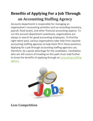 Benefits of Applying For a Job Through an Accounting Staffing Agency