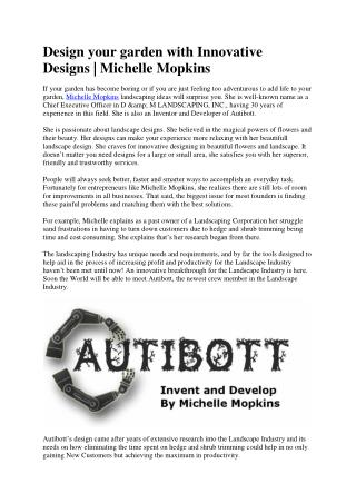 Recuperate Landscape Designs with New Invention AutiBott | Mopkins