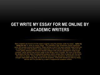 Write My Essay Australia - Online Write My Essay Service by UK Experts