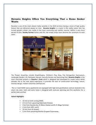 Revanta Heights Offers You Everything That a Home Seeker Wants