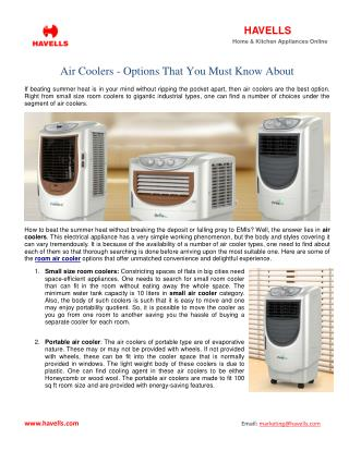 Air Coolers - Options That You Must Know About