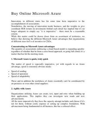 Buy Online Microsoft Azure