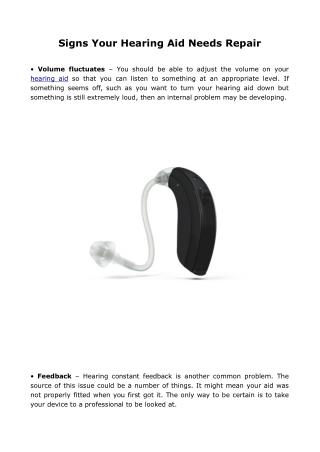 Signs Your Hearing Aid Needs Repair
