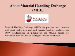 New and Used Material Handling Equipment - MHE