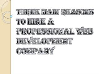 Main Reasons For Hiring a Professional Web Development Company