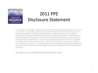 2011 PPE Disclosure Statement