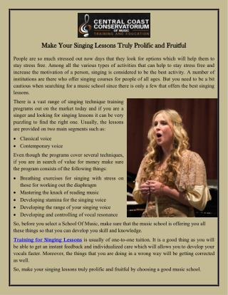 Make Your Singing Lessons Truly Prolific and Fruitful