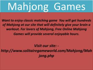 Play the best strategy games including Online Mahjong Games in the USA