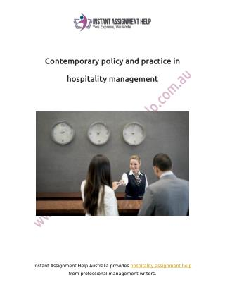 Contemporary Policy and Practice in Hospitality Management