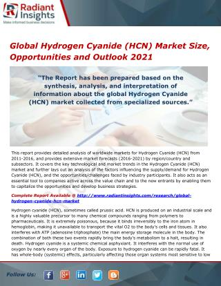 Global Hydrogen Cyanide (HCN) Market Size, Share and Forecast Report 2021