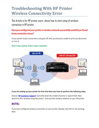 Troubleshooting WIth HP WIreless Printer - HP Printer SUpport Services