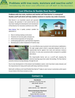 Cost Effective & flexible Root Barrier