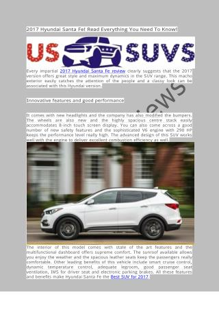 US SUV Reviews - 2017 Hyundai Santa Fe! Read Everything You Need To Know!