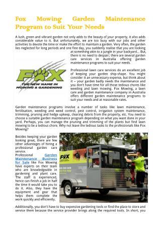Fox Mowing Garden Maintenance Program to Suit Your Needs