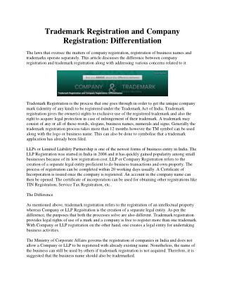 Trademark Registration and Company Registration: Differentiation