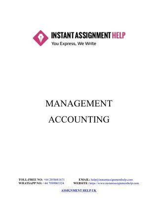Management Accounting Assignment Sample - Instant Assignment Help