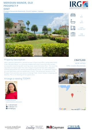 MERIDIAN MANOR, OLD PROSPECT POINT - Cayman condos for sale