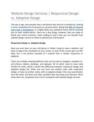 Website Design Services | Responsive Design vs. Adaptive Design