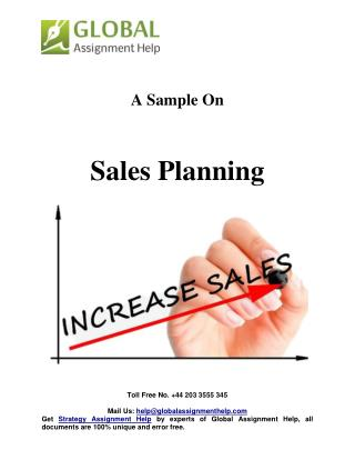 Sample On Sales Planning By Global Assignment Help